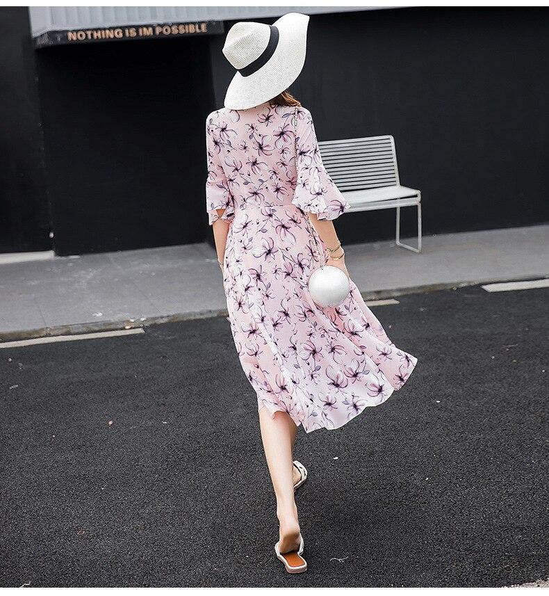 d19e73f1eeac Summer Chiffon Flower Print Elegant Maternity Clothes Horn Sleeves V neck  Pregnancy Women Dress Fashion Belt Maternity Dresses-in Dresses from Mother  & Kids ...
