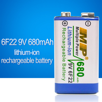 9V 6F22 680mAh High Volume Lithium-ion Rechargeable 9 Volt Li-ion Batteries Rechargeable Batteries