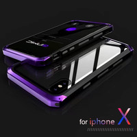 Super Deluxe Alloy Aluminum Metal Shockproof Tempered Glass Back Cover Hybrid Hard Case For IPhone X