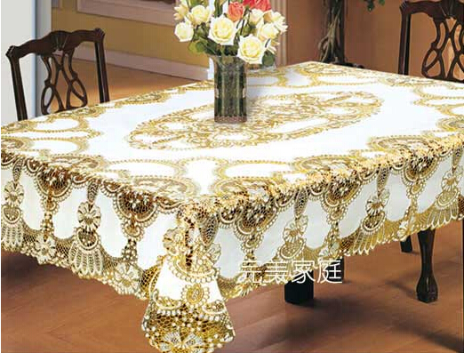 European Classic Hollowed Out Gilding PVC Table Cloth Gold White Tablecloth  Waterproof Oilproof HEATPROOF Table Cover 137*137cm