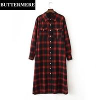 BUTTERMERE Brand Red Black Plaid Women Linen Dresses Long Sleeve Korean Fashion Runway Dress Plus Size