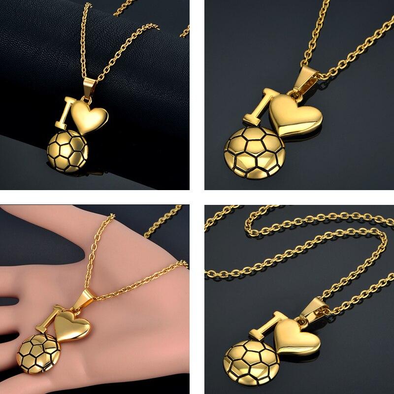 Emaille Fußball Halskette Gold Farbe Ich Liebe Fußball Anhänger - Modeschmuck - Foto 2