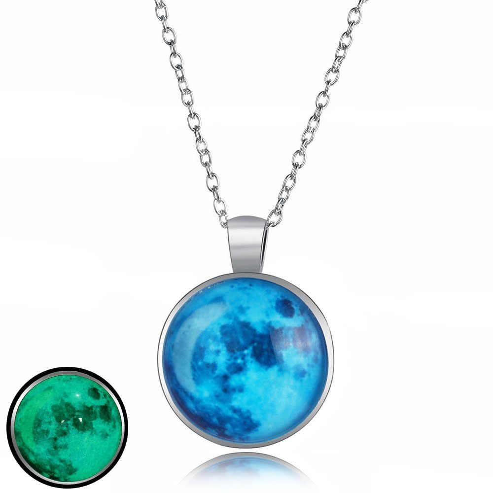 IPARAM светящийся стеклянный круглый кулон ожерелье для женщин серебро светится в темноте кулон с полумесяцем вечерние ювелирные изделия подарок 2019 Новый