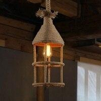 Ретро iwhd винтажная лампа пеньковая веревка Подвесные светильники креативный дом светильник Железный Лофт стиль промышленные подвесные ба