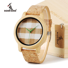 BOBO A28 Mens Relojes de Primeras Marcas de Lujo Relojes de Madera de AVES con Bandas de Cuero Real en Caja de Regalo relogio masculino relojes mujer
