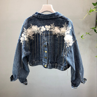 New Heavy Industry Nail Pearl Stereo Flower tassel Small Chain Opening Short Jean Jacket Fashion