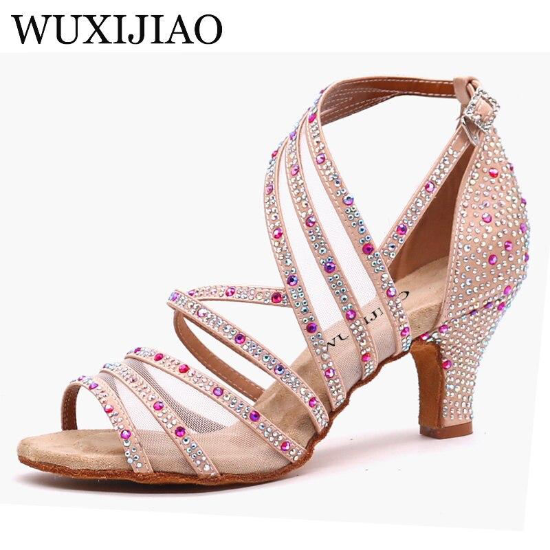 WUXIJIAO Professional 6 7.5 8.5 9 10 cm talon perles Samba Tango Salsa latine chaussures de danse de salon femmes dames avec semelle en daim