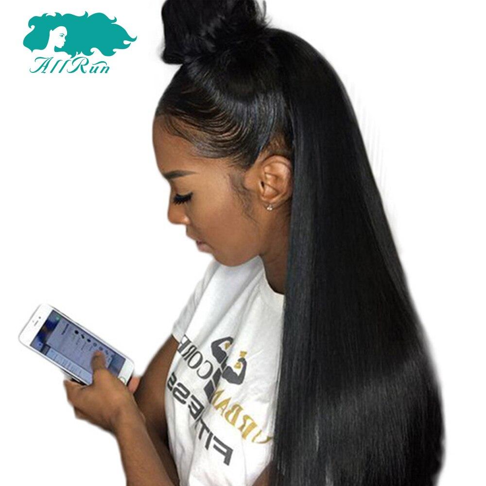 Allrun перуанский прямой челкой парики 360 Синтетические волосы на кружеве Боб Парики Природный Хеалаин 100% Синтетические волосы на кружеве al Remy...