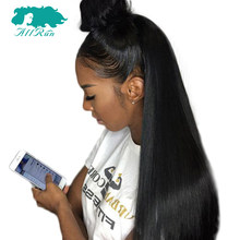 Allrun Peruvian Straight Bangs Wigs 360 Lace Front Bob Wigs Natural Hairline Lace Front Human Hair Wigs For Women Non Remy(China)