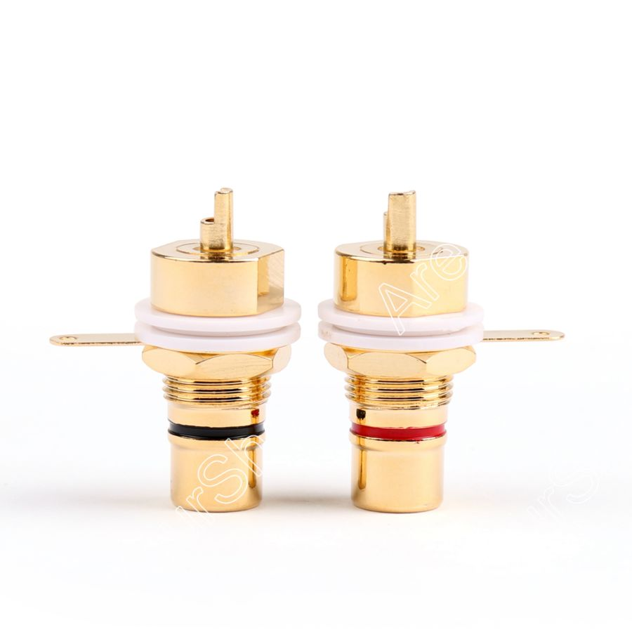 Areyourshop Sale 2/20 Pcs CMC Copper Plated RCA Female Phono Jack Panel Chassis Connector Red Black High Quality areyourshop copper carbon fiber rca plug jack gold plated audio adapter connector red 1 4pcs high quality rca connector