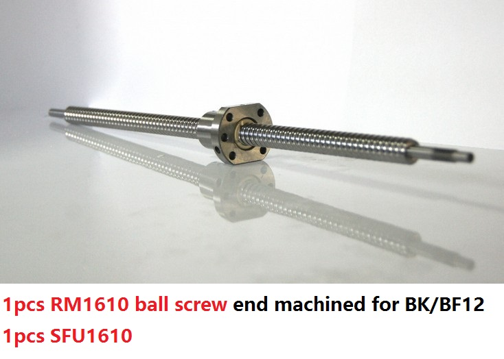 1pcs RM1610 200mm/300mm/400mm/500mm long ball screw guide way with end machined+ 1pcs SFU1610 single ball nut for cnc router 4you bs903 094 double way ball end 7 8 sbs 0508 01