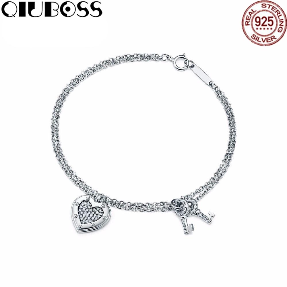 QIUBOSS TIFF 925 Sterling Silver Heart Zircon Key Bracelet DIY Gift Jewelry Fashion Bracelet Factory Direct цена