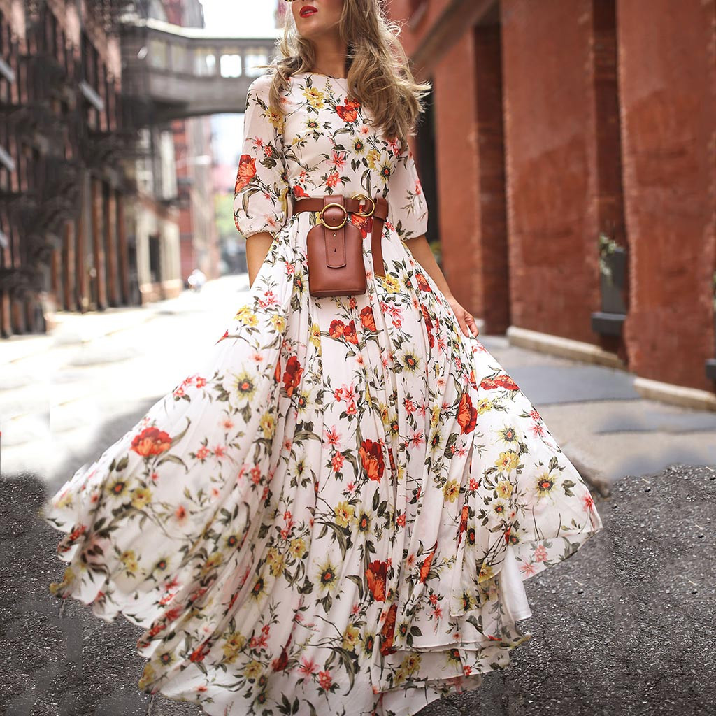 Fashion Summer Dress Women Casual Half Sleeve Boho Dresses Swing Floral-Printed Holiday Floor-Length Dresses Wholesales 40*