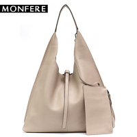 MONFE Genuine Leather Hobo Bags Women Casual Large Tote String Cowhide Shoulder Bags High Quality Brand Handbag Coin Purse Liner