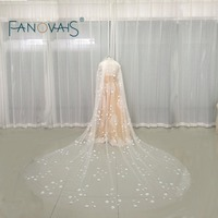 Catherdal Long Veil Tulle Elegant 3D Little Flowers Bridal Veils Wedding Accesscories Wedding Veils With Comb