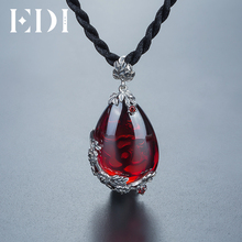 EDI Brand Vintage 925 Sterling Silver Red Royal Bohemian Garnet Natural Semi-Precious Stones Pendant Necklace Female