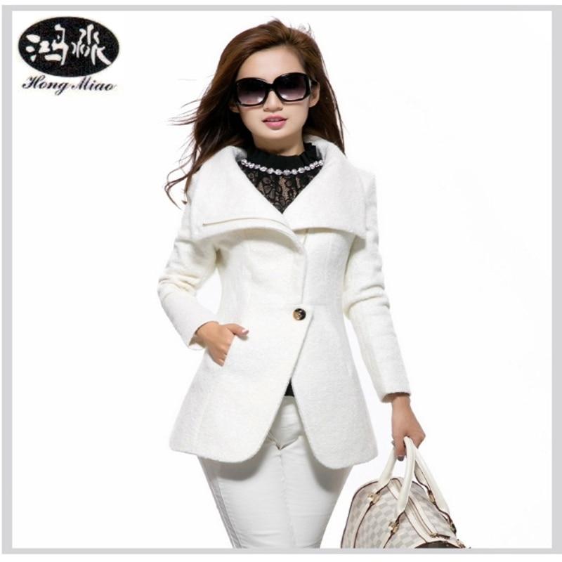 HongMiao 2018 zimní kabát ženy ležérní tenký bílý vlněný kabát vysoce kvalitní značka teplý kabát