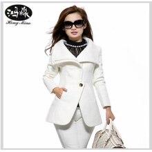 HongMiao 2018 Winter Coat Women Casual Slim White Wool Coat High Quality Brand Warm Overcoat