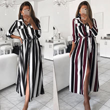 Womens Boho Floral Colourful Striped Dress Ladies Party Long Maxi Button Elegent Summer Beach Sundress
