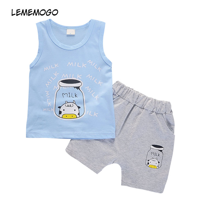 25e86f4d3 LEMEMOGO New Summer Cotton Baby Children Suit Boy Girl Fashion ...