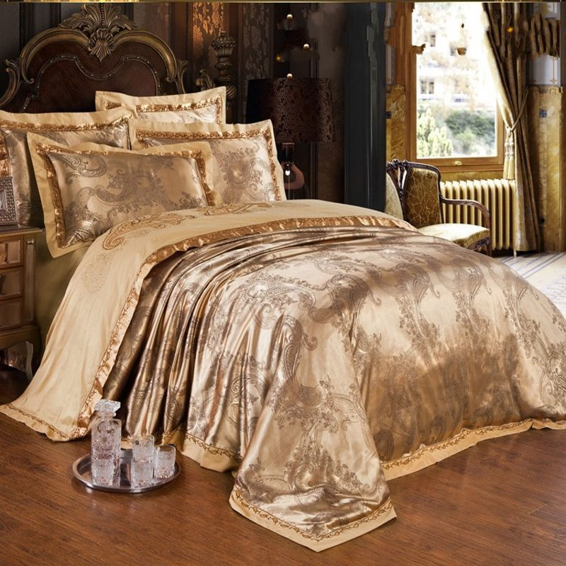Jacquard Silk Satin Bedding Set Queen King Size 6pcs Doona Quilt Duvet Cover Home Textile Bedclothes Bed Sheet Cotton