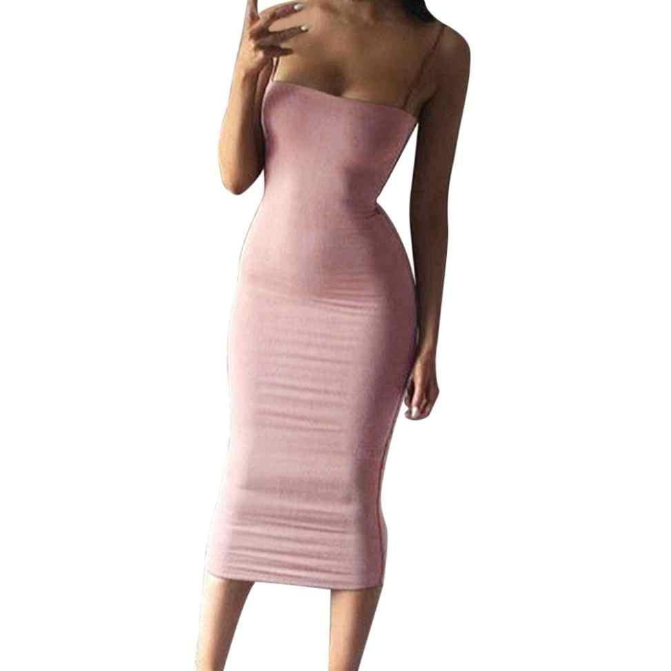 ... Women Bodycon Slim Dress Strapped Strapless Bandage Party Clubwear  Pencil Dress Vestidos Verano 2018 Tunique Femme ... e86975973316