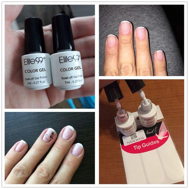 Elite99 UV Gel Nagellack Set Rosa Weiß mit Spitze Führt Nagel Lack Französisch Nail art Vernis Gel Farbe 7 ml Kleine Flasche
