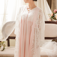 Pink/White Fairy Vintage Dress Robe Lace Nightgown Set For Ladies Embroidery Sleepwear Princess Robe Gowns Women New Fashion