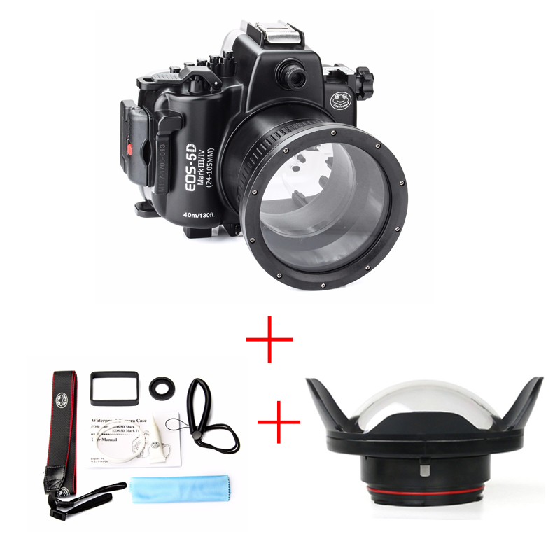 SeaFrogs 40M 130ft Diving Waterproof Housing Case for Canon 5D III IV 5D3 5D4 + SeaFrogs WA-1 Fisheye Wide angle lens Dome Port