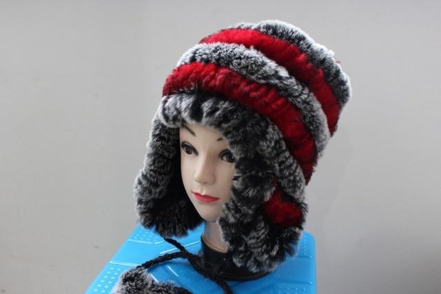 free shopping wholesale real  rabbit hair fur hat thermal rabbit fur hat double ball ear fur hat female winter  real fur hat