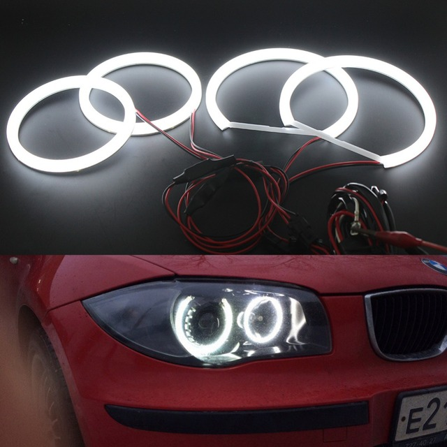 cotton led angel eyes halo rings for bmw 1 series e87 2004-2011, 3series  e90 2005-2008 with relay wire harness fade-on fade-off