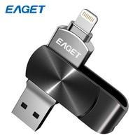 Eaget USB Flash Drive 64 GB USB 3.0 Flash Disk Kim Loại Pendrive USB Flash Memory Stick 128 GB Mã Hóa Ổ Đĩa Bút Cho Iphone 8 cộng với