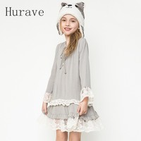 Hurave fashion casual 2017 new autumn patchwork lace girl dress kids clothes vestido long-sleeved dress girl lace