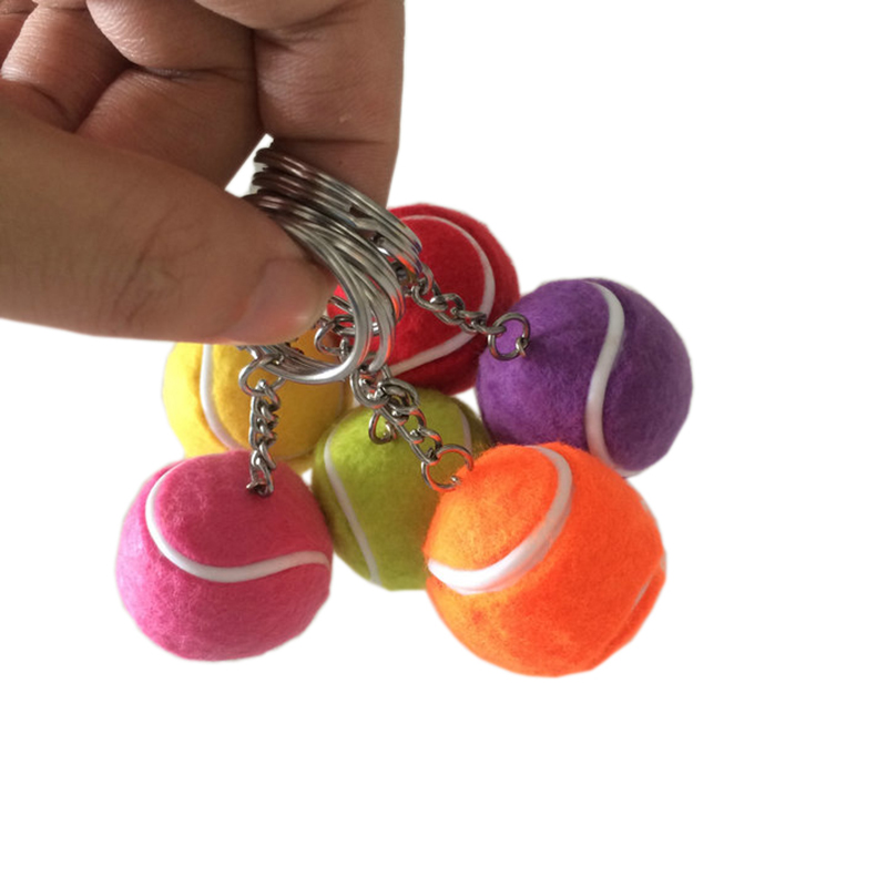 POWERTI 100pcs/lot Resin Mini Tennis Ball Key Chain Valentines Day Gift Tennis Club Player Souvenir /Memento for Decoration