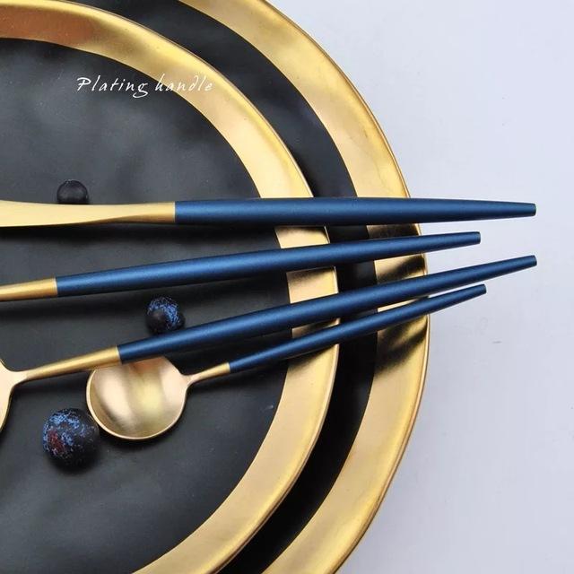 Stainless Steel Flatware Blue Gold Set