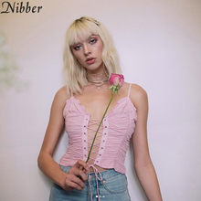 33a433a6db56 Nibber pink Lace up Crop Tops Women Sexy Off Shoulder Tees hot sale summer  ladies French style Hollow camisole Casual tank tops