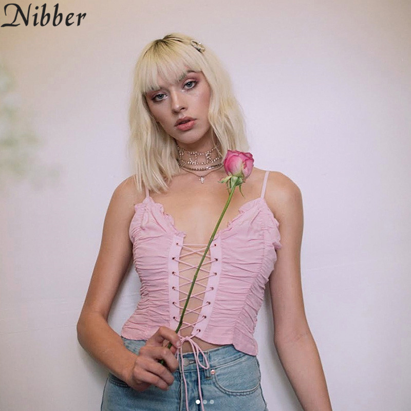 Nibber pink Lace up Crop   Tops   Women Sexy Off Shoulder Tees hot sale summer ladies French style Hollow camisole Casual   tank     tops
