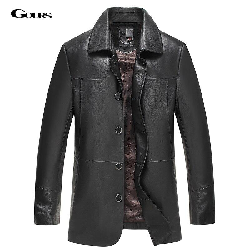 Gours 가을 및 겨울 남성용 정품 가죽 재킷 브랜드 - 남성 의류
