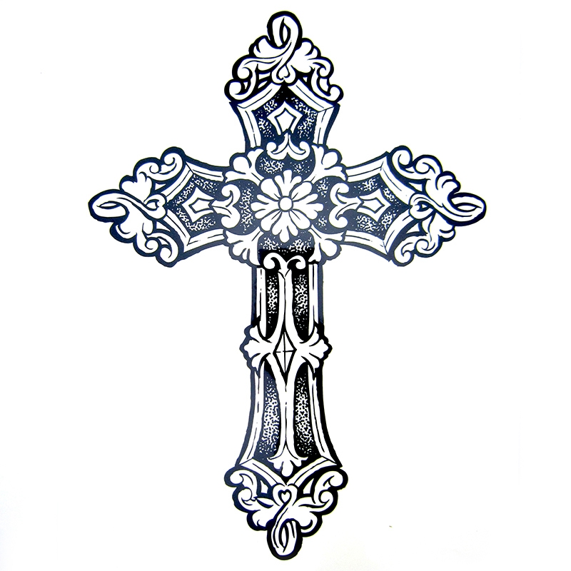 1pcs Big Cool Mens Cross Tattoos,Beautiful Arm Back Cross Waterproof Large Temporary Tattoo Stickers For Men 30*21cm