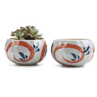 T4U 4.25 Inch Ceramic Japanese Style Clay Serial Red Grass succulent Cactus Plant Pot Flower Pot Container Planter 1 Pack of 2