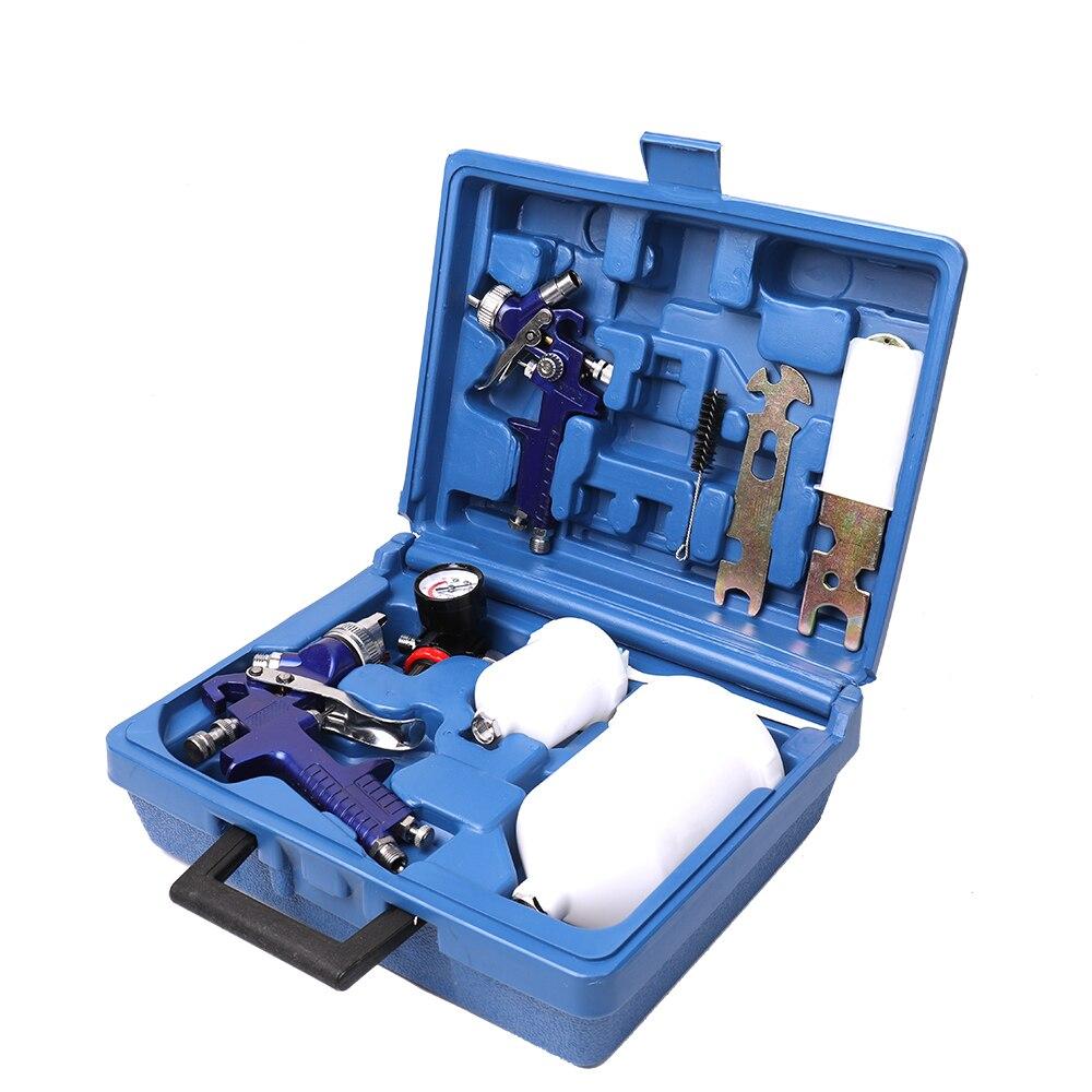 цена на AIr Spray Gun Set Toolbox Boxed Spray Machine Set Spraying Paint Tool with 2 Spray Machines and 2 Plastic Sprayer Pots