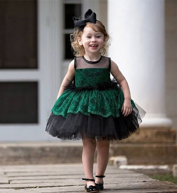 New Green Flower Girl Dresses Lace Knee Length Birthday Party Dress For Little Girl O Neck A-Line 2018 Any Size