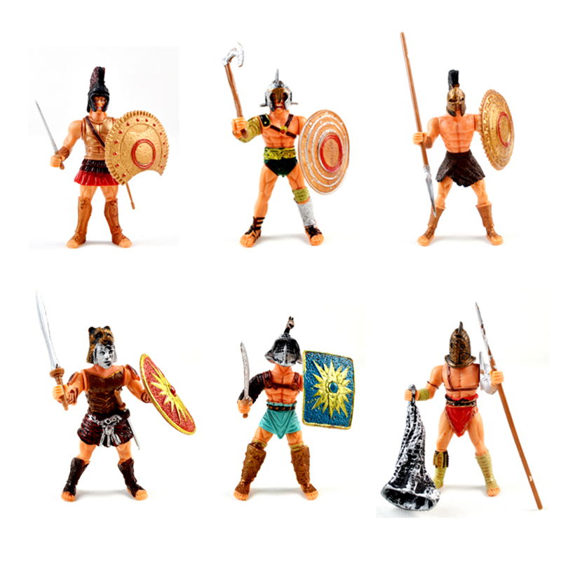 6pcs/set Medieval Warrior Toy Soldier Action Figures Weapons war Mini Model Military Playset DIY For Children Adult Gifts free shipping super affordable military base 310pcs set plastics toy soldier sand table model army soldier boy christmas gifts