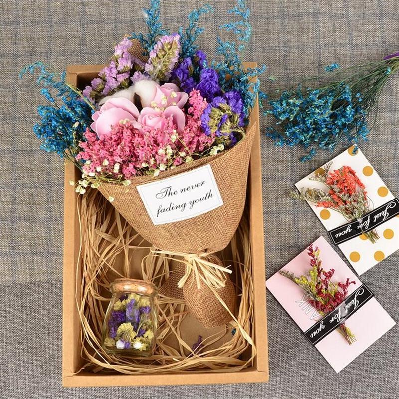 Acheter Flône Artificielle Rose Fleur Fleurs Séchées Rose Gypsophila Fleurs Séchées Bouquet Valentine Fête D'anniversaire De Mariage Décor Floral de Artificielle et Fleurs Séchées fiable fournisseurs