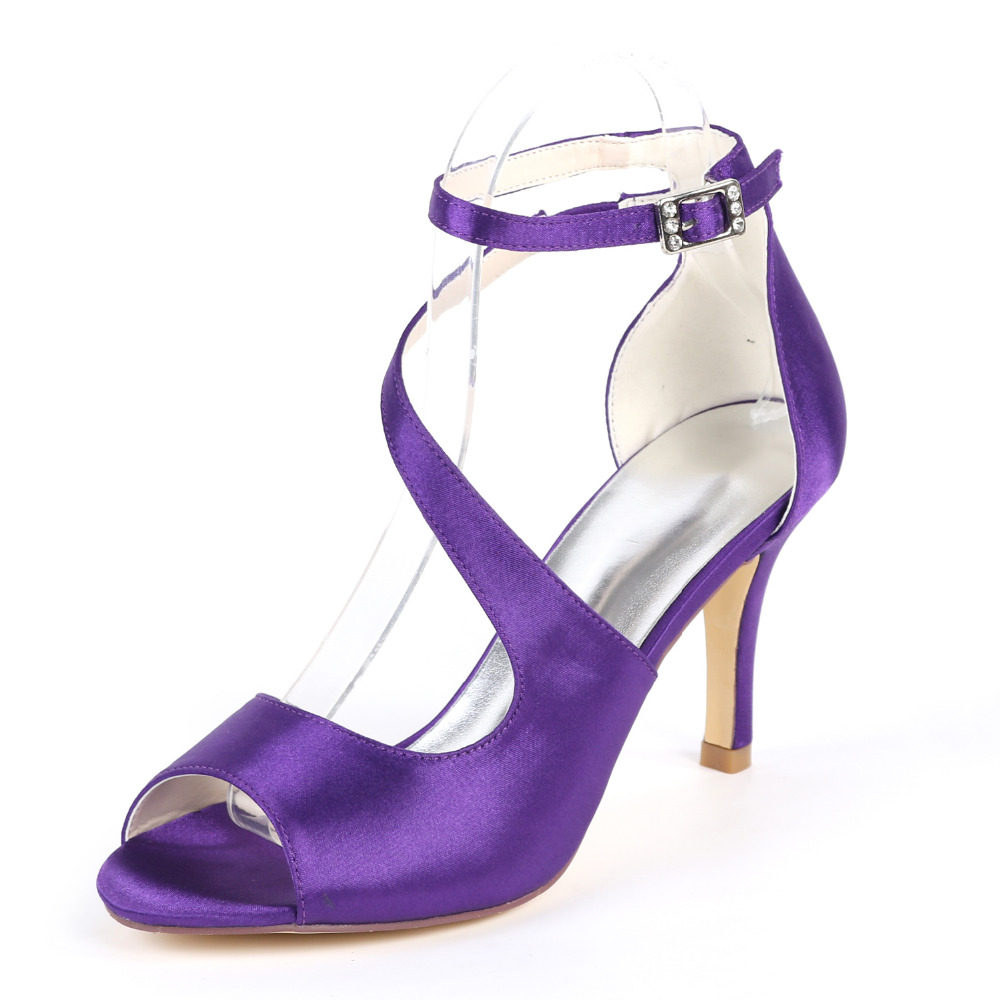 07f91f9cc4152 Creativsugar lady s fashion satin dress sandals shoes ankle strap curve  strap wedding party prom heels eggplant