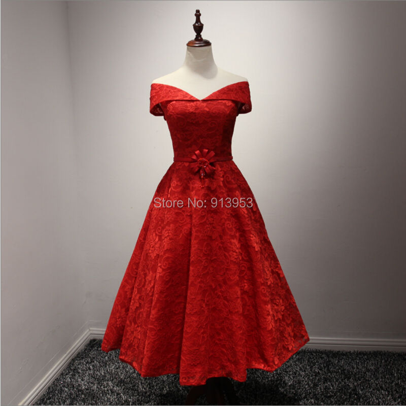 Real Pictures Elegant Red Lace Vintage Tea Length Cocktail Girl ...
