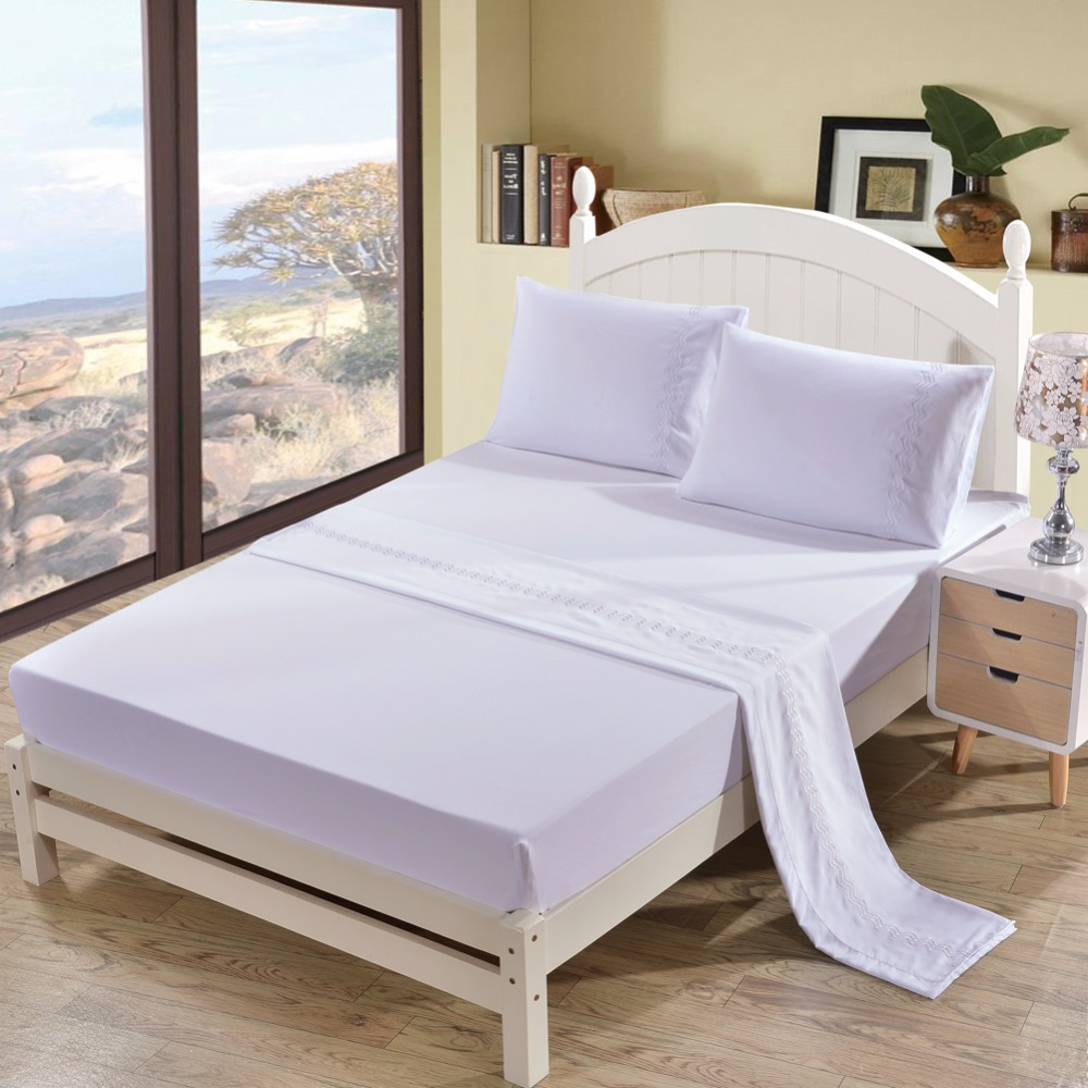 300TC Pure 4pcs polyester cotton Sheet set Solid Color Embroidered US Queen King Bed Cover Flat Fitted Sheet set 2 shams 5 color300TC Pure 4pcs polyester cotton Sheet set Solid Color Embroidered US Queen King Bed Cover Flat Fitted Sheet set 2 shams 5 color