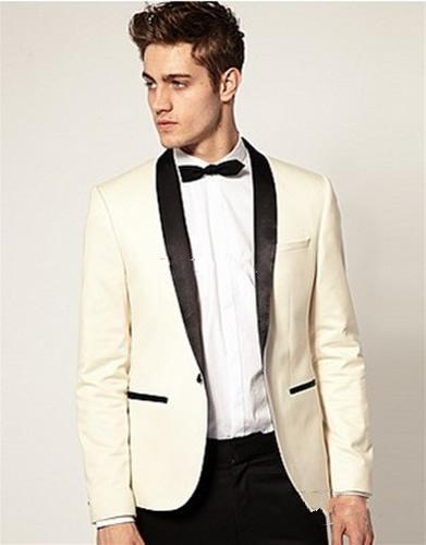 2016 Custom Made Tuxedos Ivory Jacket Black Lapel Tailored Wedding Prom Suits For Men Bespoke Blazer Morning Suit Groom Wear