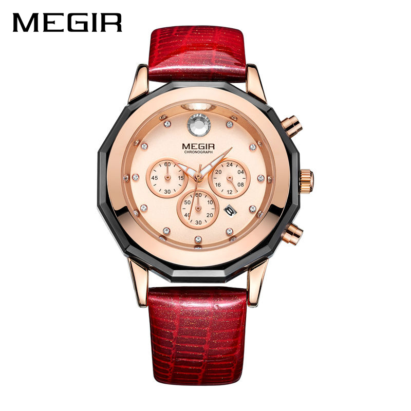 New MEGIR Women Watches Fashion Luminous Leather Quartz Ladies Wrist Watch Clock Montre Femme for Female Lovers Relogio Feminino newly design dress ladies watches women leather analog clock women hour quartz wrist watch montre femme saat erkekler hot sale