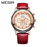 New MEGIR Women Watches Fashion Genuine Leather Luminous Quartz Wristwatches Clock Montre Femme For Female Lady